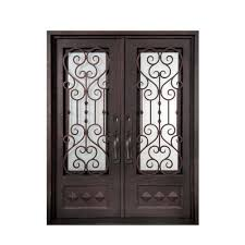 Metal Front Doors For Homes With Glass by Iron Doors Unlimited 74 In X 97 5 In Vita Francese Classic 3 4