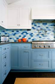 Tile Backsplash Behind Range Hood Kitchen Idea Kitchen Hoods Blue - Blue tile backsplash kitchen