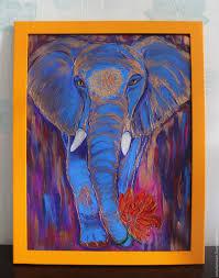bright elephant canvas acrylic acrylic loop