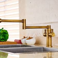 Pot Filler Kitchen Faucet Deck Mounted Antique Brass Dual Handle Pot Filler Kitchen