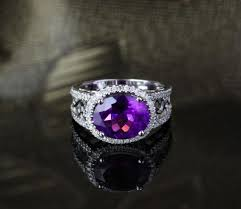 Amethyst Wedding Rings by 499 Oval Dark Purple Amethyst Engagement Ring Pave Diamond