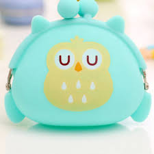 wholesale animal print silicone candy owl wallet small pouch