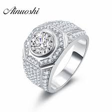 aliexpress buy 2ct brilliant simulate diamond men aliexpress buy ainoushi luxury ring brilliant cut 2 ct