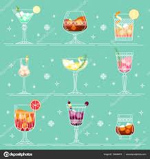 cocktails and alcohol drinks set in line art style different