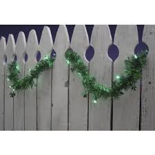9 pre lit green shamrock st s day tinsel garland green