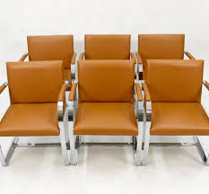 Mies Van Der Rohe Bench Mies Van Der Rohe Six Cognac Brno Leather Chairs By Ludwig Mies