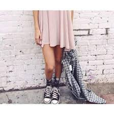 dress flannel pastel pink converse converse high tops black