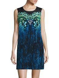 gottex pavone peacock print silk shift dress in blue lyst