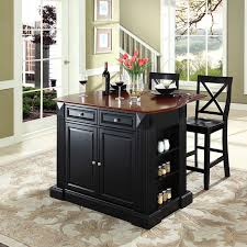 kitchen island sets home styles monarch black slide out leg wood top kitchen island
