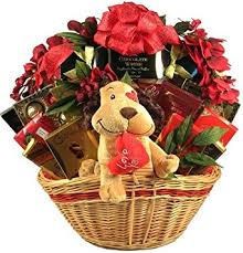 valentines day gift baskets big s day gift basket with plush dog