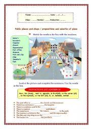 public places and shops prepositions and adverbs of place