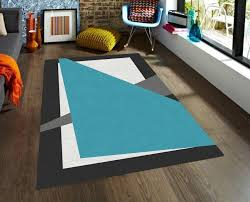 Modern Black Rugs Modern Rug Geometric Rug Area Rugs Blue White And Black Rug