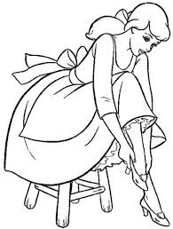 cinderella trying the shoes coloring page cinderella pages of