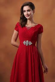 wholesale red short sleeve ankle length scoop neck beaded chiffon