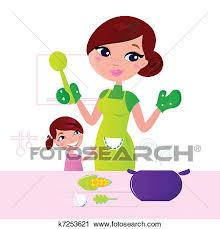 enfant cuisine clipart mère cuisine nourriture saine enfant dans cuisine