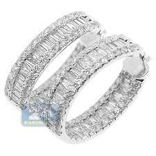 white gold diamond hoop earrings baguette diamond hoop earrings 14k white gold 4 12 ct