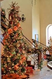 Ideas For Christmas Tree Ribbon by Christmas Tree And Stairway Garland Complete With Orange Moire