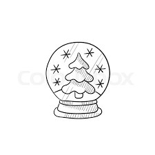 baptism snow globes snow globe with christmas tree vector sketch icon isolated on