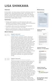 Esl Resume Examples by English Instructor Resume Samples Visualcv Resume Samples Database