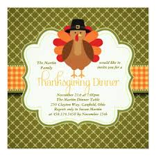 rustic turkey thanksgiving dinner square paper invitation card