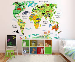 home decor wall art stickers amazon com eveshine animal world map peel u0026 stick nursery wall
