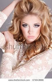 beautiful blonde woman perfect skin curly stock photo 173243657