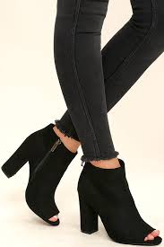 So Ankle Boots Cute Black Suede Booties Black Ankle Booties Peep Toe Booties