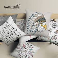 sweetenlife watercolor buffalo skull feather pillow cover