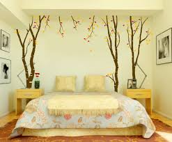 bedroom small bedroom decor with tree wallpaper and floral print