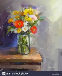 oil painting white red and yellow flowers in glass vase in glass vase