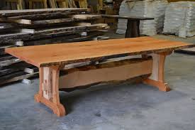 live edge outdoor table hand crafted live edge cherry dining table with live edge trestle