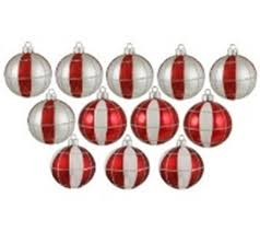 12ct peppermint twist shatterproof silver white u0026 red striped and