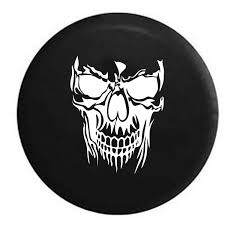jeep tire size chart grinning skull jeep camper spare tire cover white grey camo