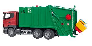 garbage trucks for kids surprise bruder 3561 scania r series garbage truck red green amazon co
