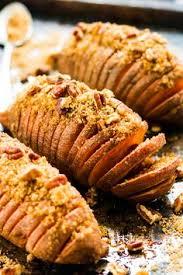 hasselback sweet potatoes with brown sugar pecans recipe