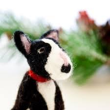 bull terrier ornament needle felted bull terrier