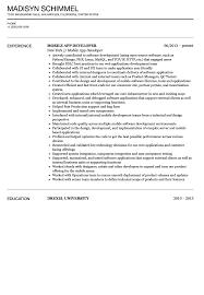 mobile application developer resume sample velvet jobs