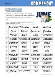 odd one out calendar worksheet free esl printable worksheets