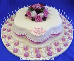 90th birthday cakes pretty posy petal shaped 90th birthday cake with pink frills 90
