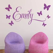 childrens wall stickers personalised children s 7 butterfly name wall sticker decal