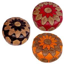 Ottoman Morocco Handmade Mosaic Black Leather Ottoman Pouf Made In Morocco