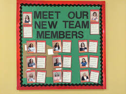 sports theme bulletin board to showcase our new staff members use