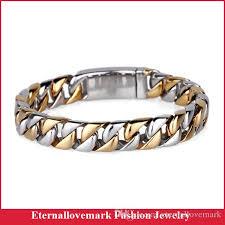 men gold tone bracelet images 2018 fashion gold silver two tone cuban chain bracelet men jpg