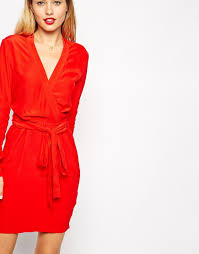 asos wrap dress with tulip skirt and long sleeves in red lyst