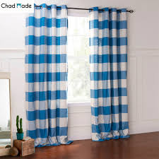 Blue Plaid Kitchen Curtains by Chadmade Custom Size Window Curtain Blue Color High Shading