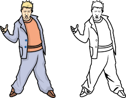 printable outline cool boy dancing kids coloring point