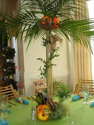 luau table centerpieces luau themed centerpiece palm tree table gold events floral gold