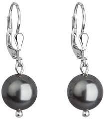 swarovski sede stříbrné náuš visací s perlou swarovski šedé kulaté 71006 3