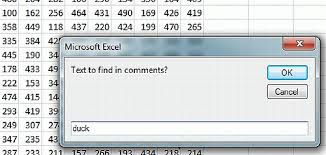 how to search for cell comments using excel