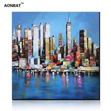 Handmade In New York - professional painted painting on canvas of new york city